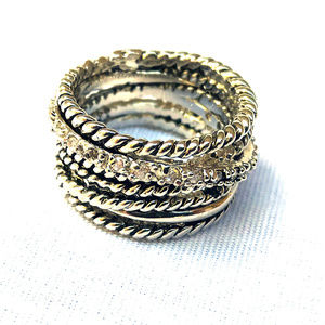 ♛5/$25♛ NWOT Silver Multi Layer Band Ring 7 8 Cute